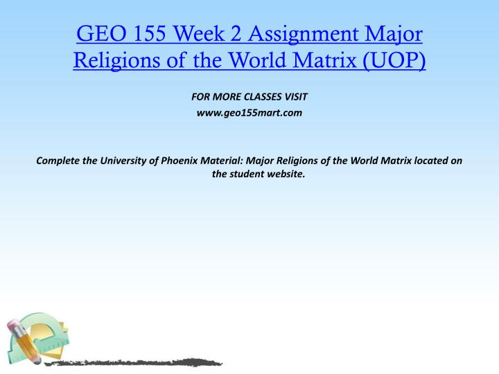 GEO 155 Week 2 Assignment Major Religions of the World Matrix (UOP)