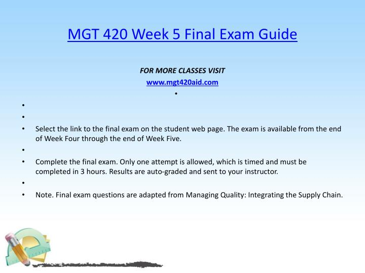 MGT 420 Week 5 Final Exam Guide
