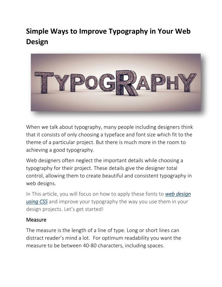 Simple Ways to Improve Typography in Your Web