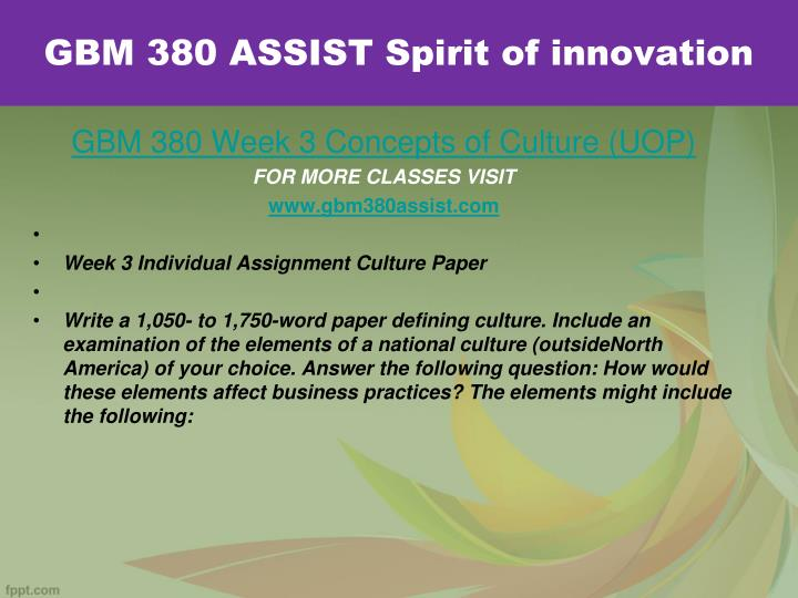 GBM 380 ASSIST Spirit of innovation