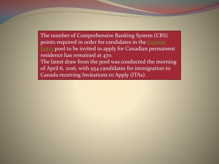 The number of Comprehensive Ranking System (CRS) points required in order for candidates in the