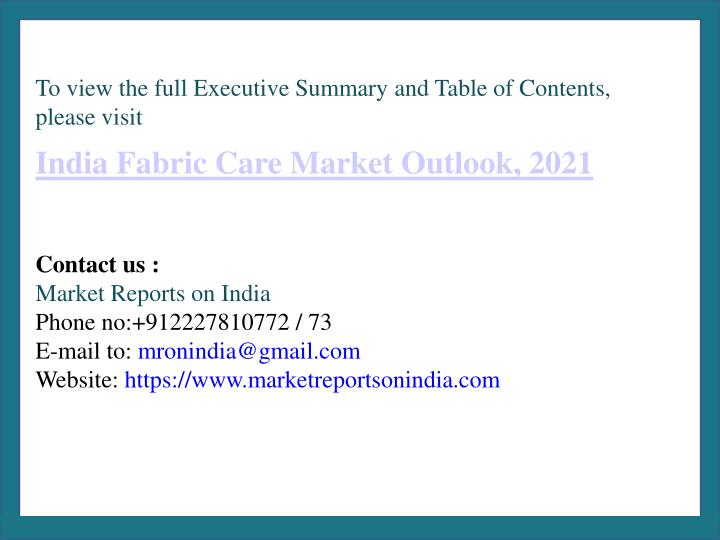To view the full Executive Summary and Table of Contents, please visit