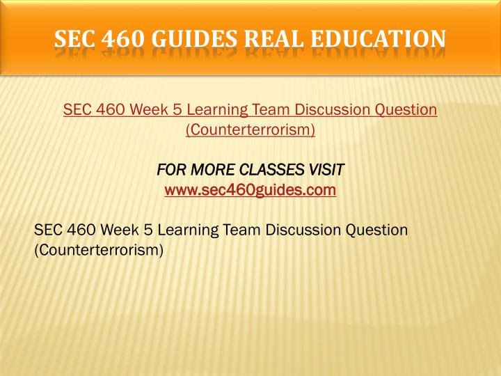 SEC 460 GUIDES Real Education
