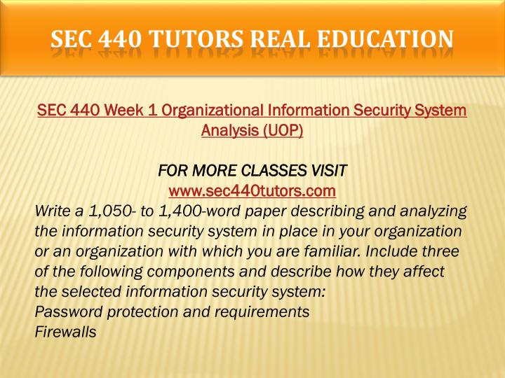 SEC 440 TUTORS Real Education