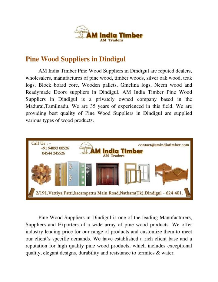 Pine Wood Suppliers in Dindigul