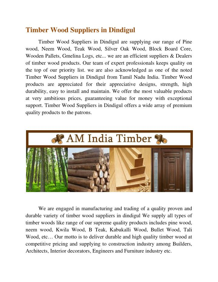 Timber Wood Suppliers in Dindigul