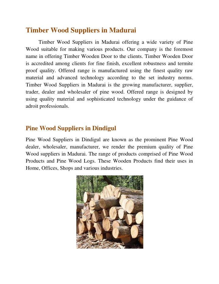 Timber Wood Suppliers in Madurai