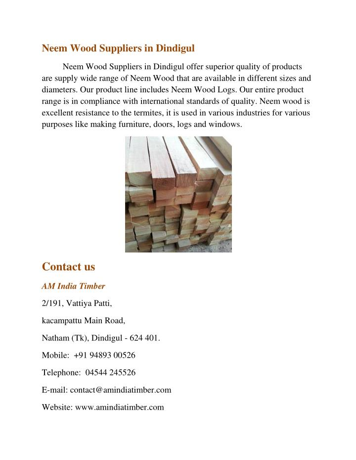 Neem Wood Suppliers in Dindigul