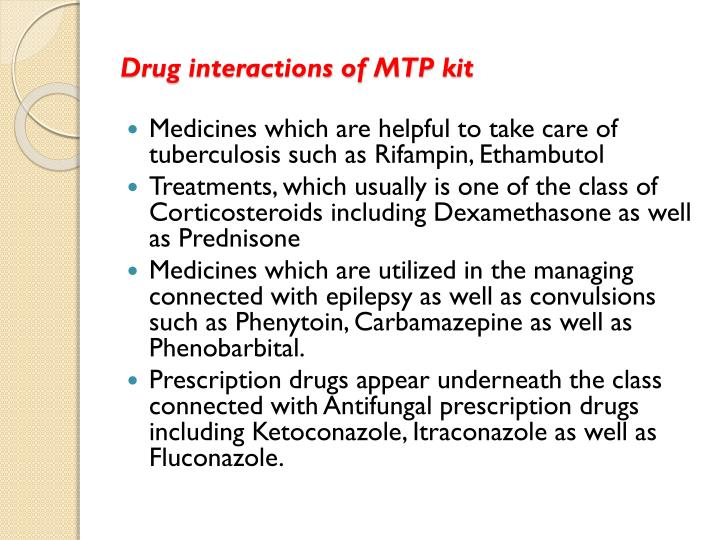 Drug interactions of MTP kit