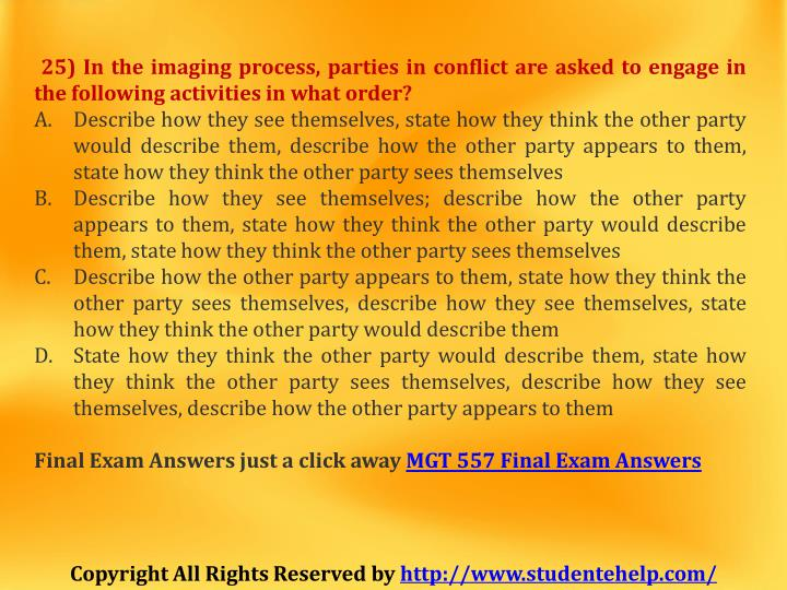 25) In the imaging process, parties in conflict are asked to engage in
