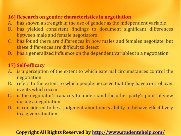 16) Research on gender characteristics in negotiation