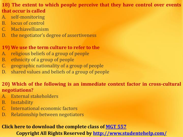 18) The extent to which people perceive that they have control over events