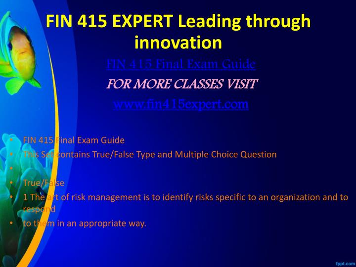 FIN 415 EXPERT Leading through innovation