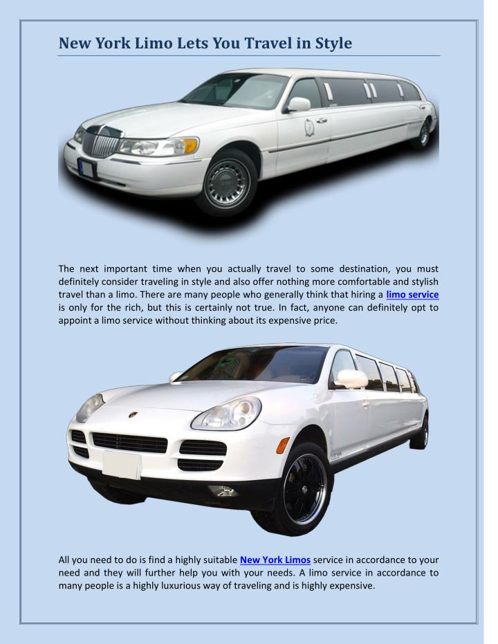 New York Limo Lets You Travel in Style