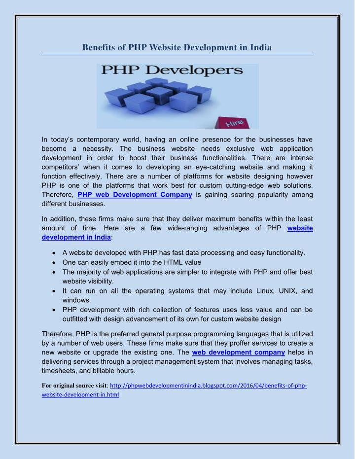 Benefits of PHP Website Development in India