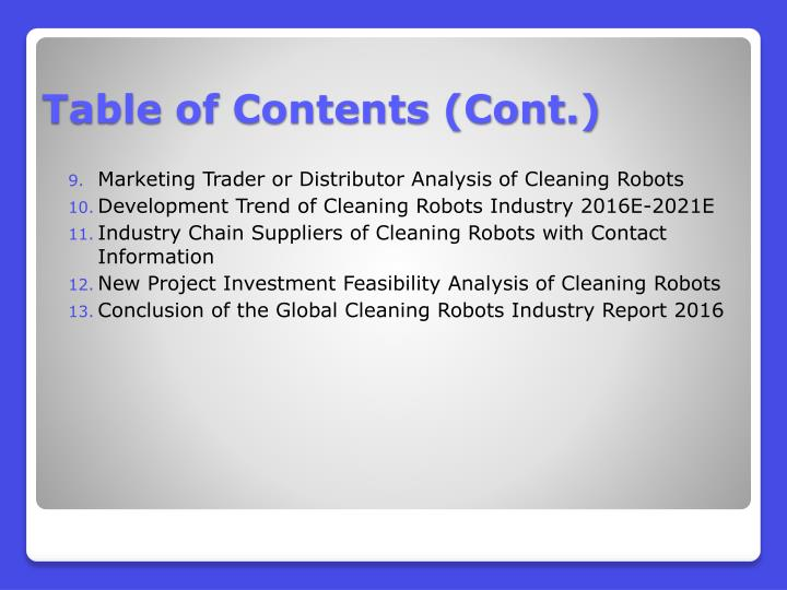 Marketing Trader or Distributor Analysis of Cleaning Robots