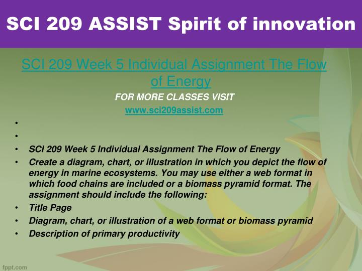 SCI 209 ASSIST Spirit of innovation