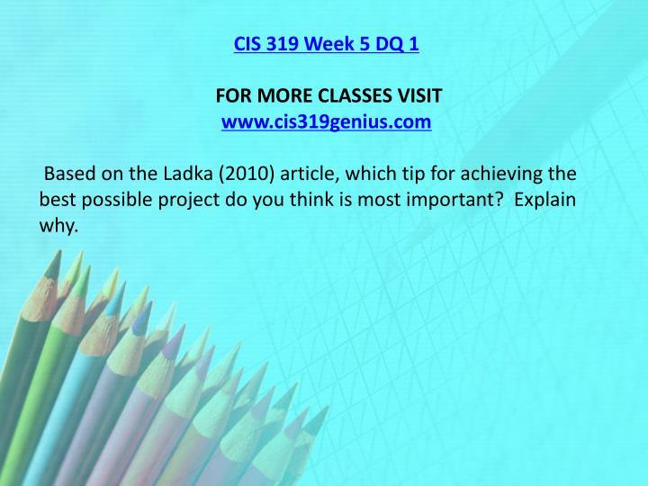 CIS 319 Week 5 DQ 1