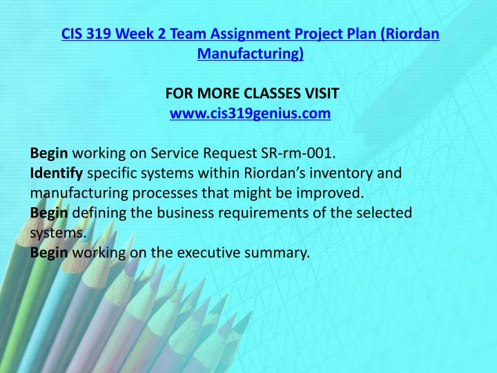 CIS 319 Week 2 Team Assignment Project Plan (Riordan Manufacturing)