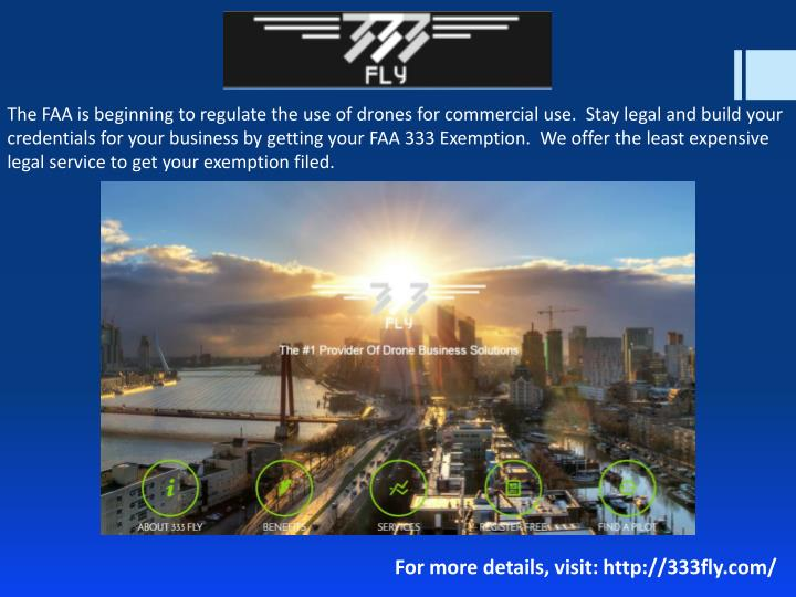 The FAA is beginning to regulate the use of drones for commercial use.  Stay legal and build your cr...