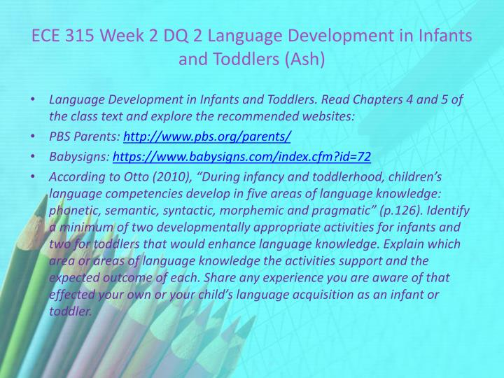 ECE 315 Week 2 DQ 2 Language Development in Infants and Toddlers (Ash)