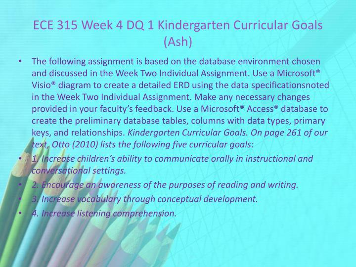 ECE 315 Week 4 DQ 1 Kindergarten Curricular Goals (Ash)