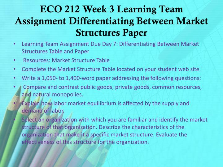 ECO 212 Week 3 Learning Team Assignment Differentiating Between Market Structures Paper