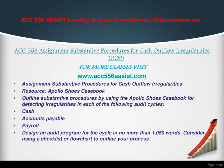 ACC 556 ASSIST Leading through innovation/acc556assistdotcom