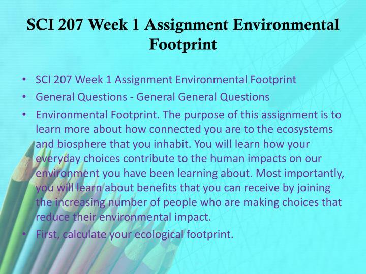 SCI 207 Week 1 Assignment Environmental Footprint