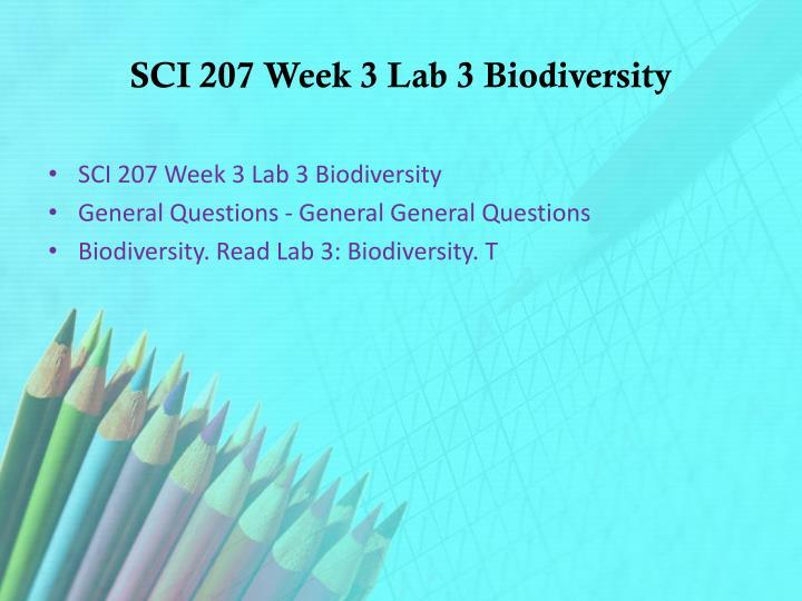 SCI 207 Week 3 Lab 3 Biodiversity