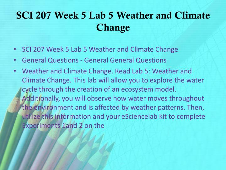 SCI 207 Week 5 Lab 5 Weather and Climate Change