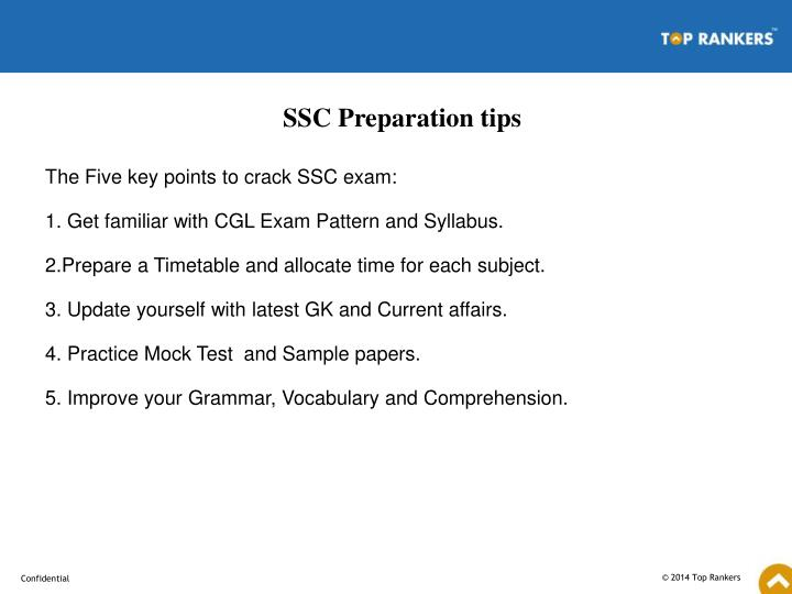 SSC Preparation tips