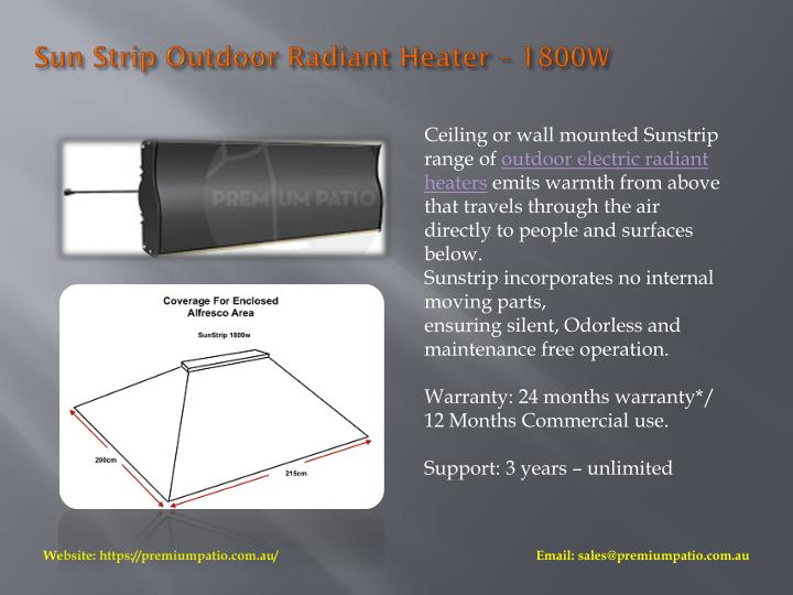 Sun Strip Outdoor Radiant Heater – 1800W