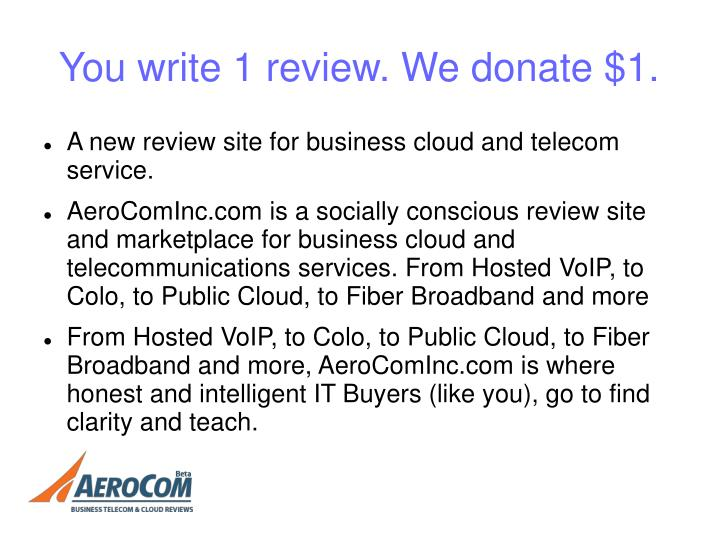 You write 1 review. We donate $1.