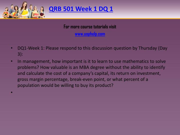 Qrb 501 week 1 dq 1