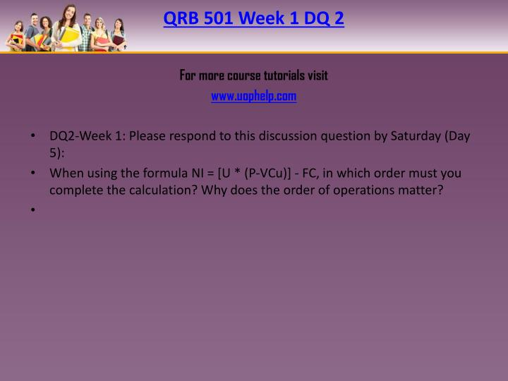 QRB 501 Week 1 DQ 2