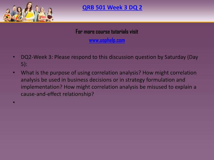 QRB 501 Week 3 DQ 2