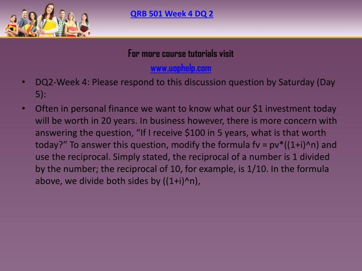 QRB 501 Week 4 DQ 2