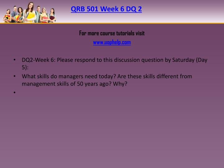 QRB 501 Week 6 DQ 2