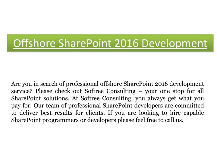 Offshore SharePoint 2016 D