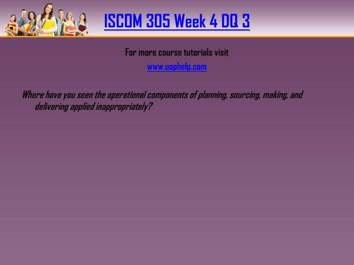 ISCOM 305 Week 4 DQ 3