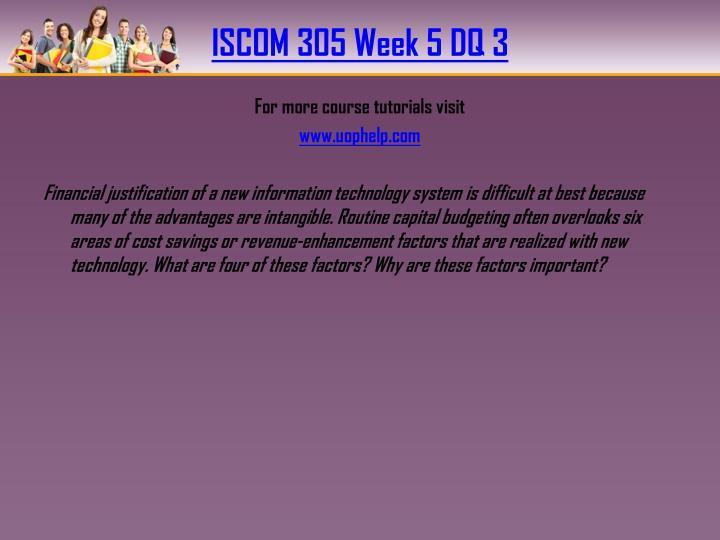 ISCOM 305 Week 5 DQ 3