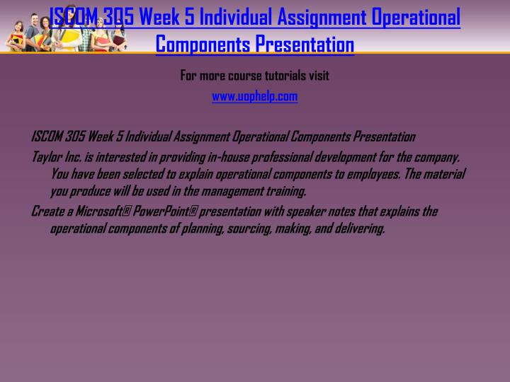 ISCOM 305 Week 5 Individual Assignment Operational Components Presentation
