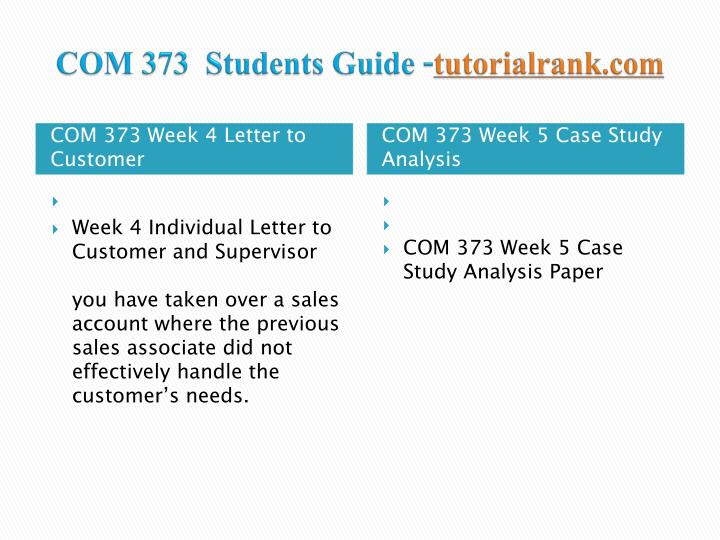 COM 373  Students Guide -