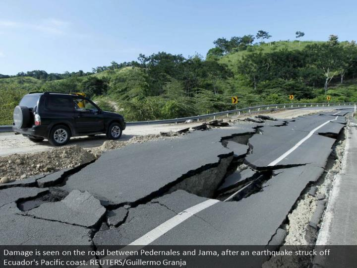 Damage is seen on the road between Pedernales and Jama, after an earthquake struck off Ecuador's Pacific coast. REUTERS/Guillermo Granja