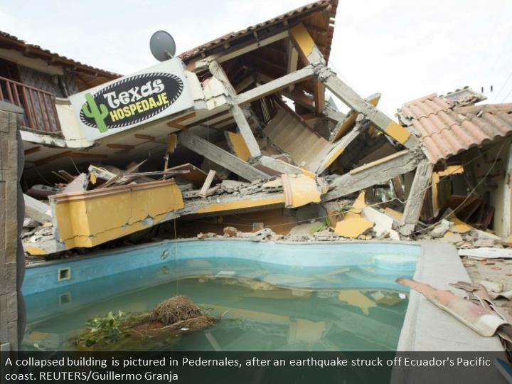 A collapsed building is pictured in Pedernales, after an earthquake struck off Ecuador's Pacific coast. REUTERS/Guillermo Granja