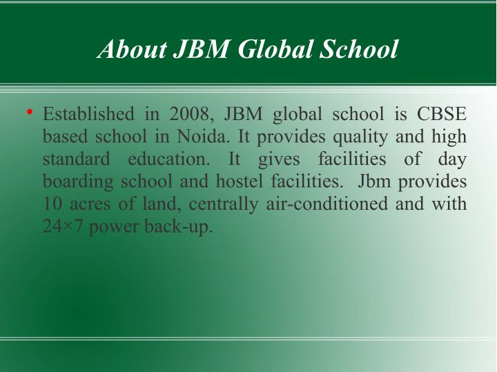About JBM Global School