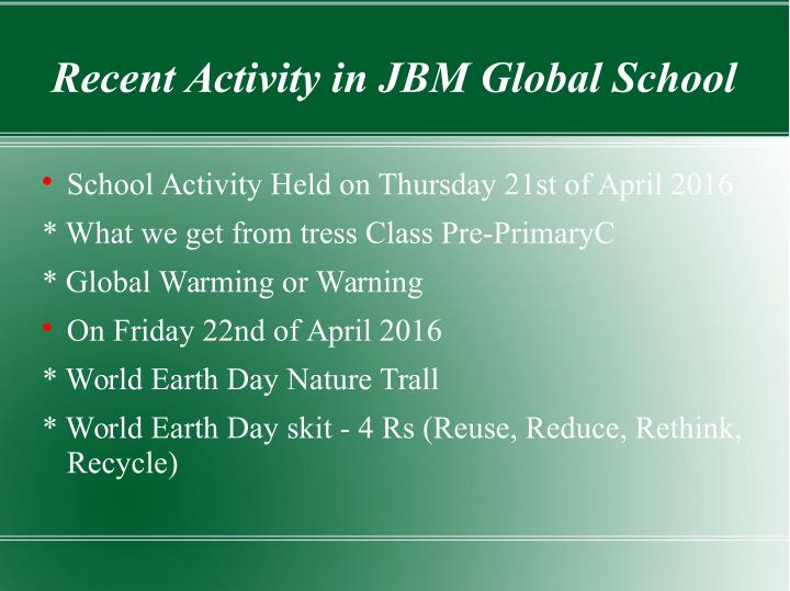 Recent Activity in JBM Global School