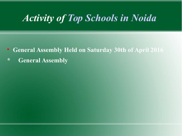 Activity of Top Schools in Noida