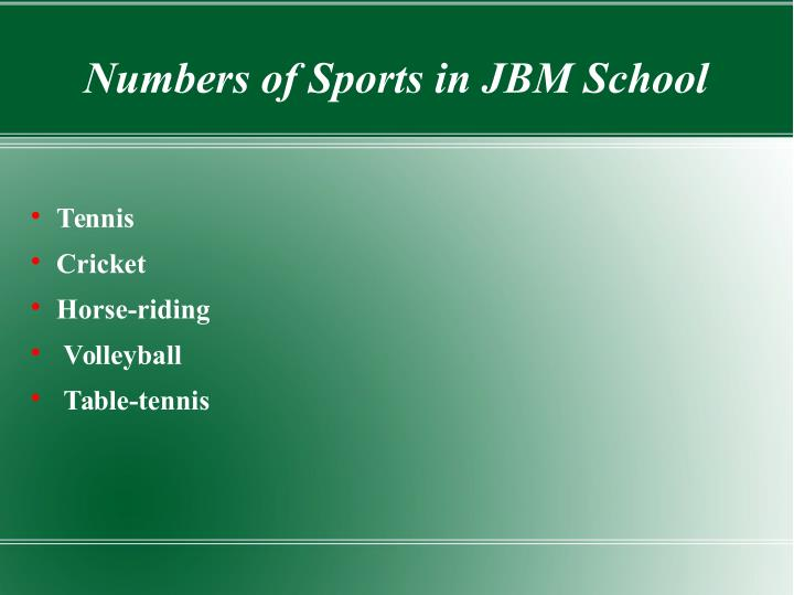 Numbers of Sports in JBM School